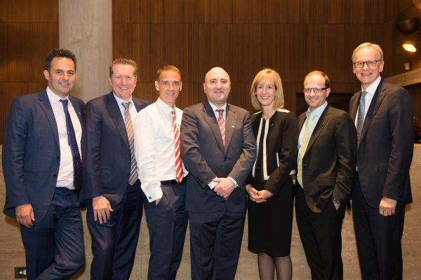 From left Douglas Isles, Mark Burgess, Charlie Lanchester, Ruppen Margarian, Catherine Allfrey, Chris Stott, Geoffrey Wilson. Absent Nathan Parkin and Lachlan Ridhalgh